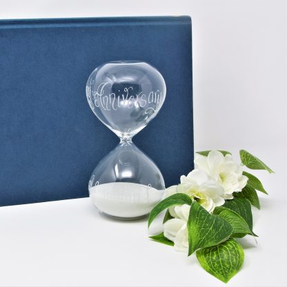 sq anniversary hour glass sand timer personalised