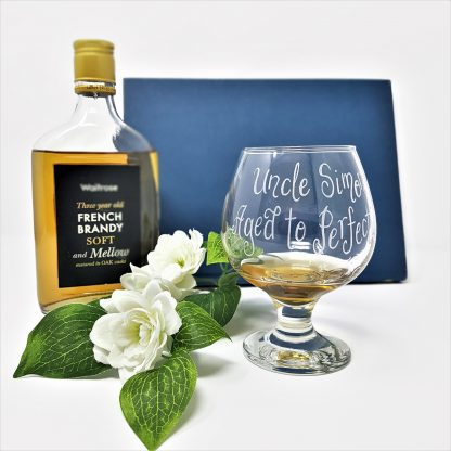 personalised brandy glass uncle simon aged to perfection5