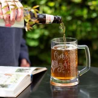 personalised glass beer tankard life sq