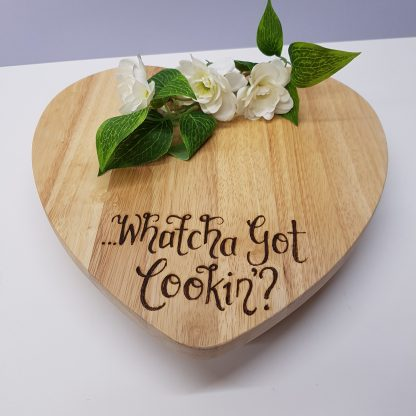 personalised heart shaped wooden chopping board