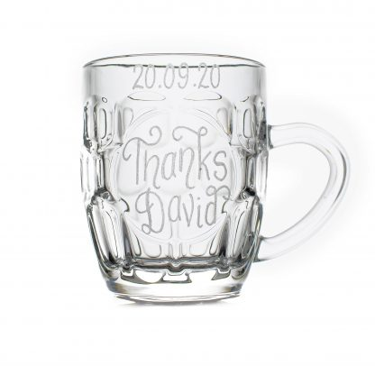 small glass tankard personalised for page boy wht sq