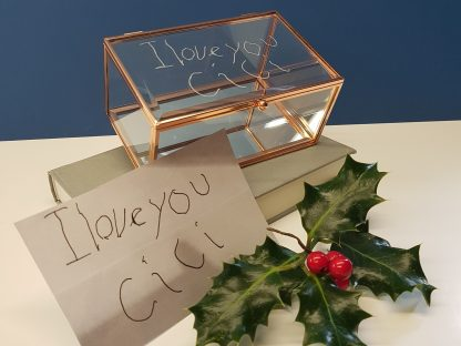 childs handwriting engraved onto glass jewellery box