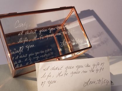 copy handwriting onto glass trinket box 12