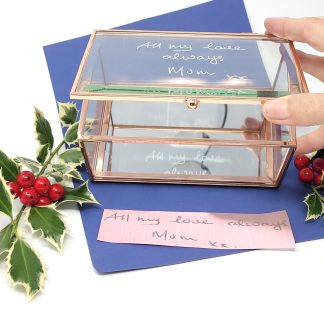 glass jewellery box hand engraved with copied handwriting of loved one