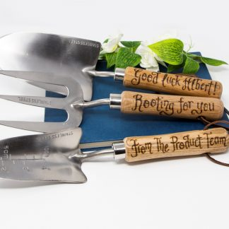 good luck rooting for you retirement leaving gift personalised garden tools