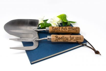 good luck rooting for you retirnement leaving gift personalised garden tools