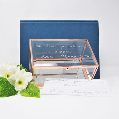 handwriting copied onto glass jewellery box sq xmas