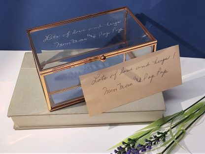 handwriting copied onto glass trinket box in memory