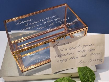 nan grandad handwriting copied onto glass trinket box