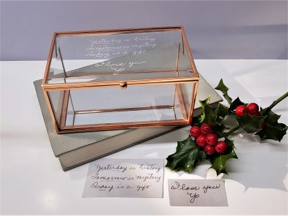 yesterday is history handwriting copied onto glass memories box
