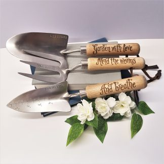 garden with love mind the worms and breathe personalised garden tool set gift for friend