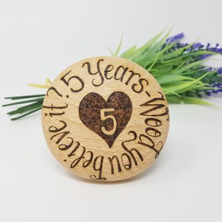 5 years wood you believe it wooden anniversary pebble personalised5