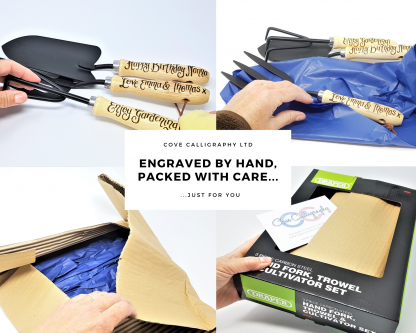 show packaging on personalised garden tool set