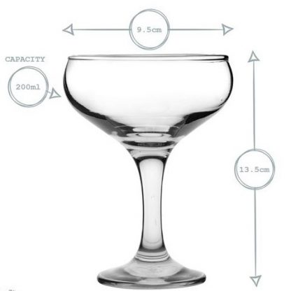 coupe glass sizes