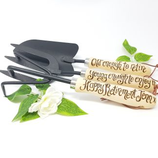 old enough to retire young enough to enjoy it happy retirement personalised garden tools set