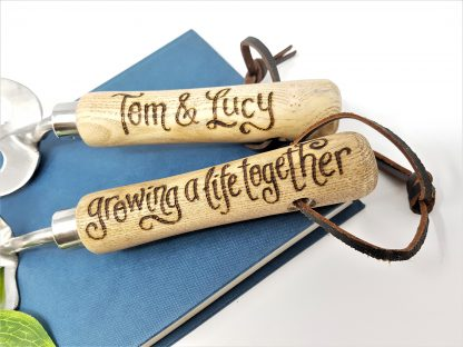 tom and lucy growing a life together personalised garden tools