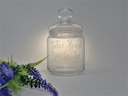 tudor house sweetie jar glass luminarc jar personalised for sweets1