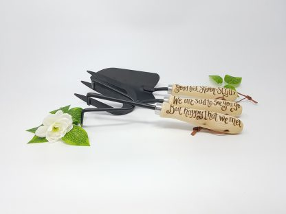 we are sad to see you go but happy that we met personalised retirement garden tool set
