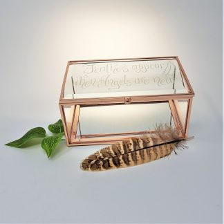 feathers appear when angels are near personalised glass trinket box in memory of lost loved one square