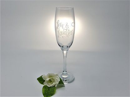 personalised love & laughter happy ever after champagne flute glass