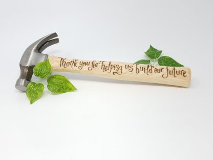 thank you for helping us build our future personalised hammer for father of the bride or groom