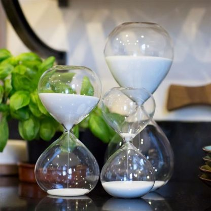 3 different sizes of sand timers