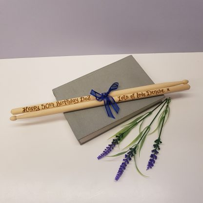 50th birthday gift personalised wooden drumsticks