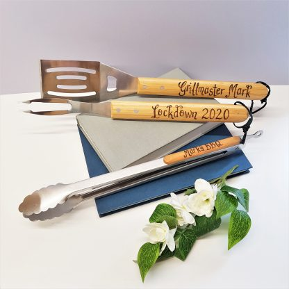 ##birthday personalised barbecue set for lockdown staycation gift