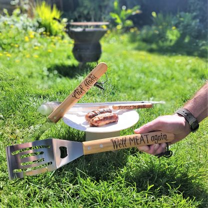 retirement gift personalised bbq barbecue tool set we'll meat again
