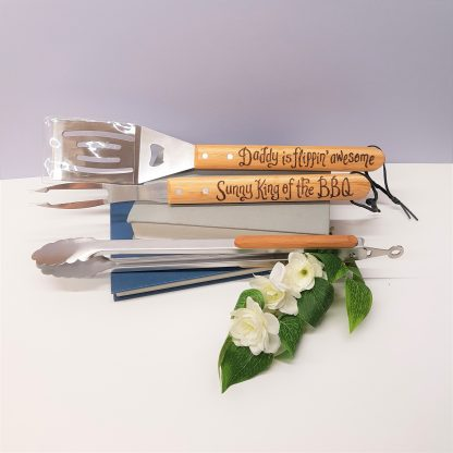 ##daddy is flipping awesome personalised bbq tool set for fathers day