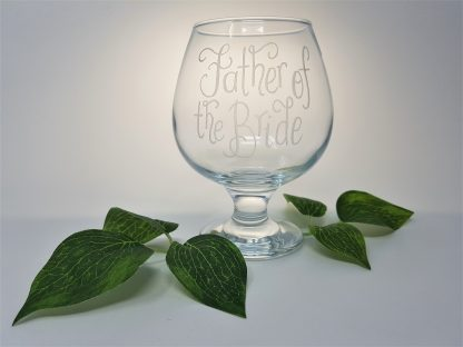 father of the bride personalised brandy or rum snifter glass