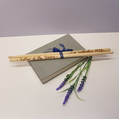 father of the groom personalised wooden drumsticks