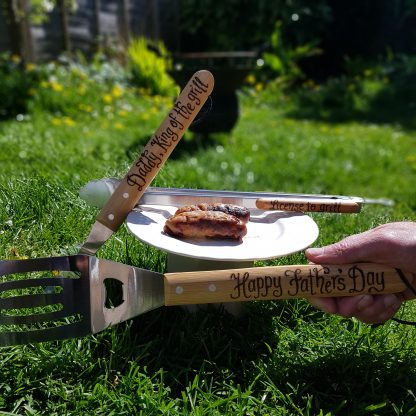 ##fathers day personalised bbq tool set daddy king of the grill happy fathers day