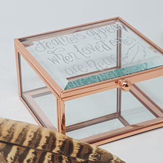 feathers appear when loved ones are near personalised glass box2
