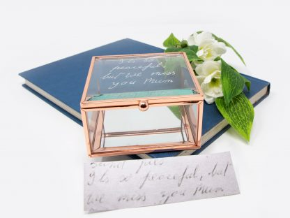 glass jewellery box square with handwriting of loved one 43 prop