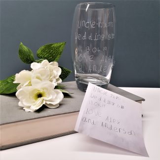 handwriting copied and engraved by hand onto highball glass8