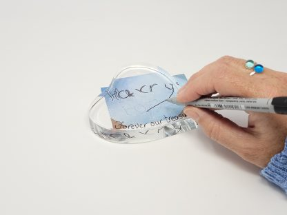 handwriting copied onto glass heart paperweight ornament in gift box