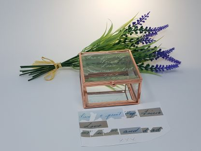 handwriting of loved one on glass trinket box square