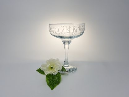 happy 21st birthday coupe personalised glass