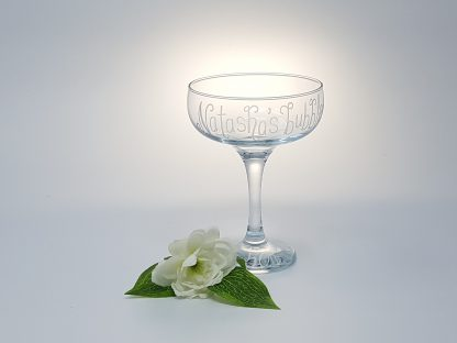 natashas bubbles personalised champagne coupe vintage style glass