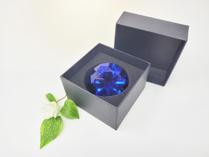 personalised blue diamond crystal glass paperweight
