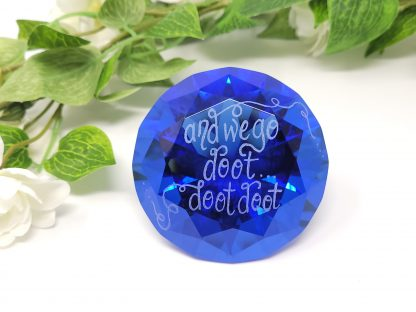 personalised blue glass diamond paperweight hand engraved with any message song lyrics