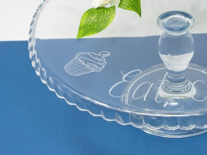 personalised glass cake stand with cupcake design prop 43