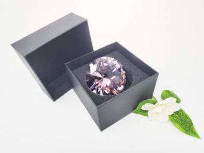 personalised pink diamond crystal glass paperweight