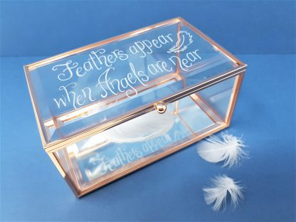 feathers appear when loved ones are near personalised trinket box