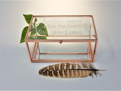 feathers appear when i am near love your darren glass trinket box in memory of lost loved one loss1