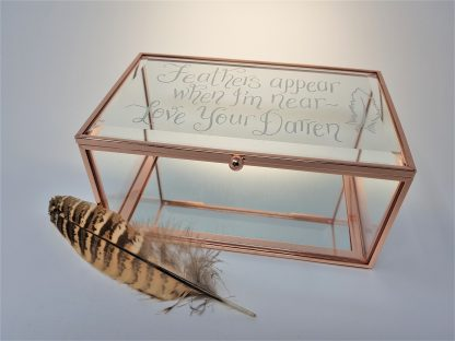 feathers appear when i am near love your darren glass trinket box in memory of lost loved one loss2