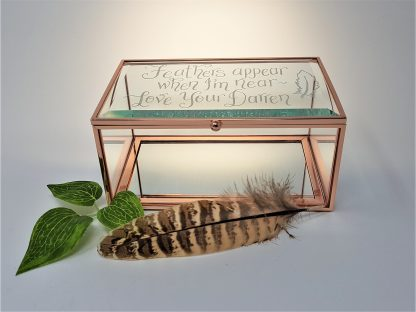 feathers appear when i am near love your darren glass trinket box in memory of lost loved one loss3