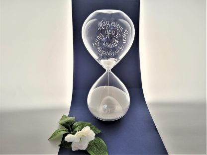 personalised hand engraved hour glass 60 minute timer wedding anniversary or engagement gift45