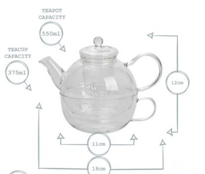 tea for one glass teapot and cup set personalised6